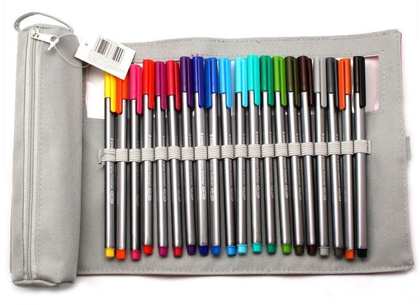 Yotti — Triplus Fineliners 20 Assorted Colours with Pencil Case . Best gift for designer http://www.yotti.co/gifts/triplus-fineliners-20-assorted-colours-with-pencil-case