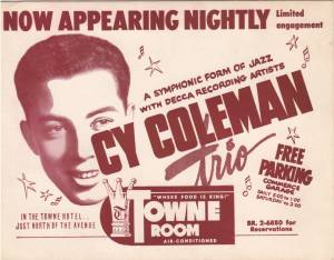 Promotional card for a gig Cy played at Chicago's Towne Room (circa 1952).