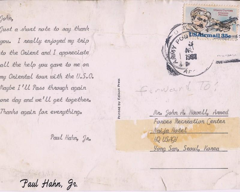 Paul Hahns Postcard 3 Nov 1981