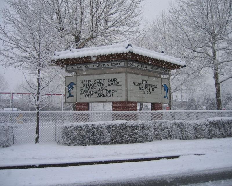 SEOUL AMERICAN ELEMENTARY SCHOOL UNDER SNOW ALERT -JoePagano