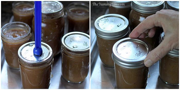 Canning applesauce--attaching the lids