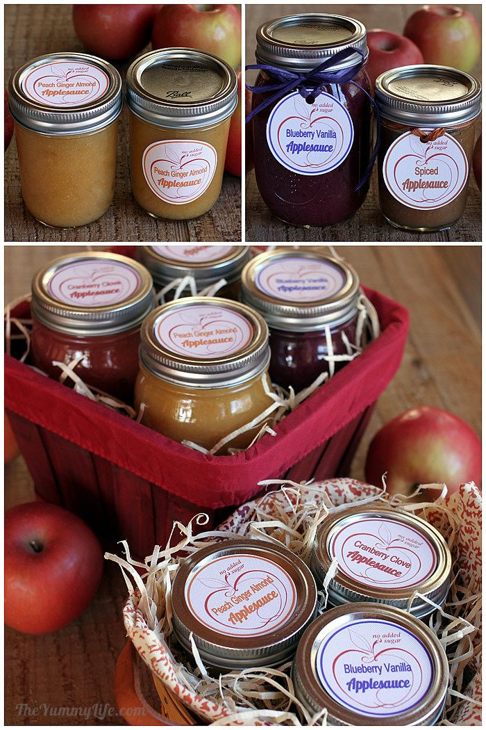 Fruit & Spice Applesauce Blends with gift labels