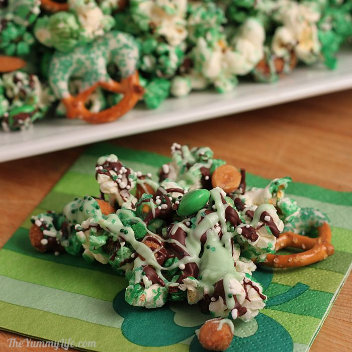 High-Heeled Love: St. Patrick's Day Food - Green Pretzel & Popcorn Party Mix from The Yummy Life