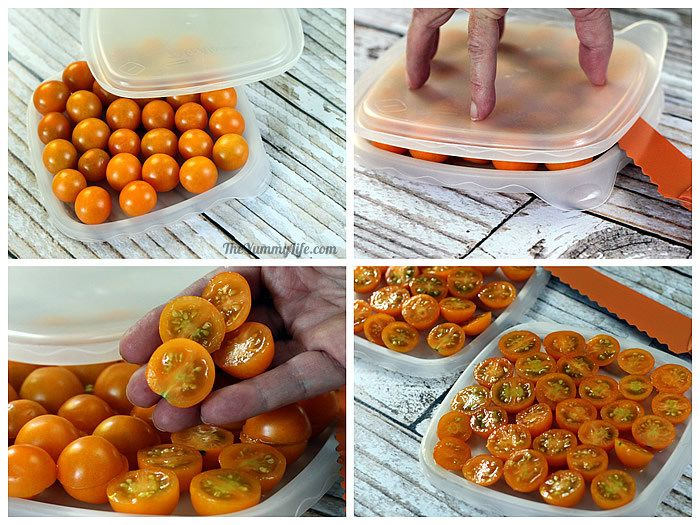 Cutting cherry tomatoes between square plastic lids