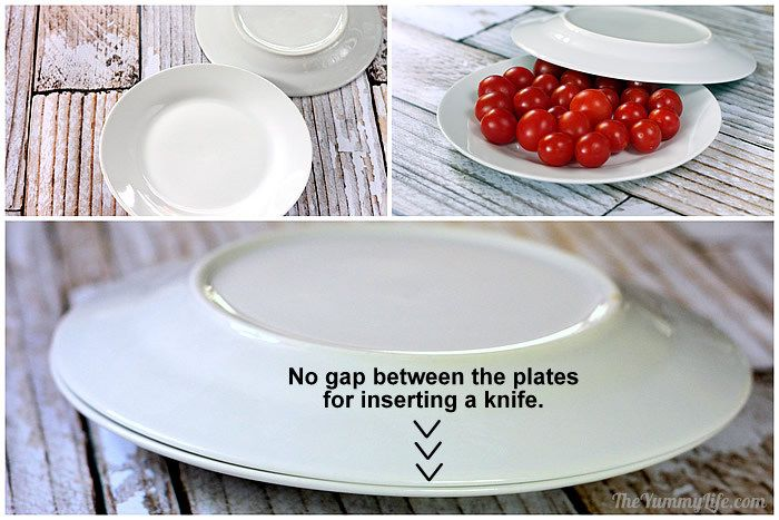 Using plates for cutting tomatoes