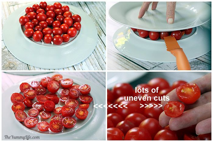 Using plate bottoms for cutting tomatoes