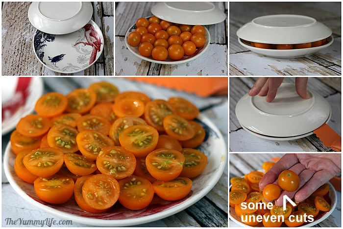 Cutting Sungold tomatoes between plates