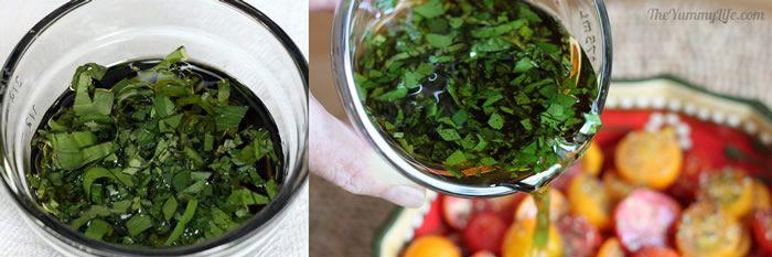 Chopped herbs in dressing