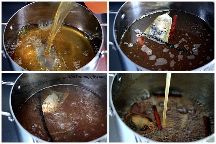 Boiling apple cider syrup.