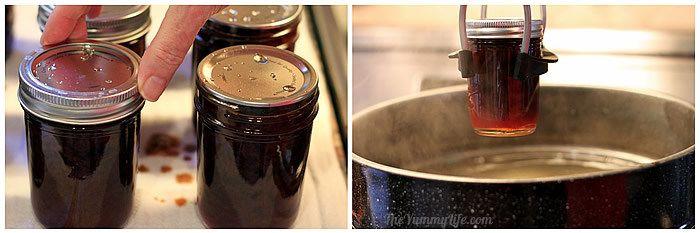 Apple cider syrup jars in canner