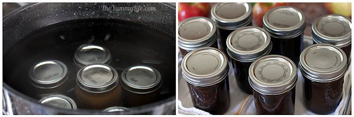 Water process canning apple cider syrup