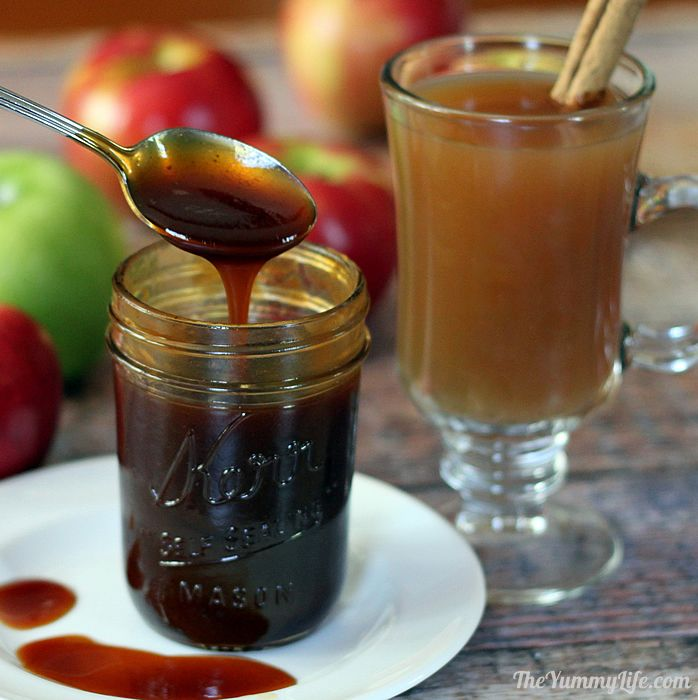 Make a mug of instant apple cider with concentrated syrup