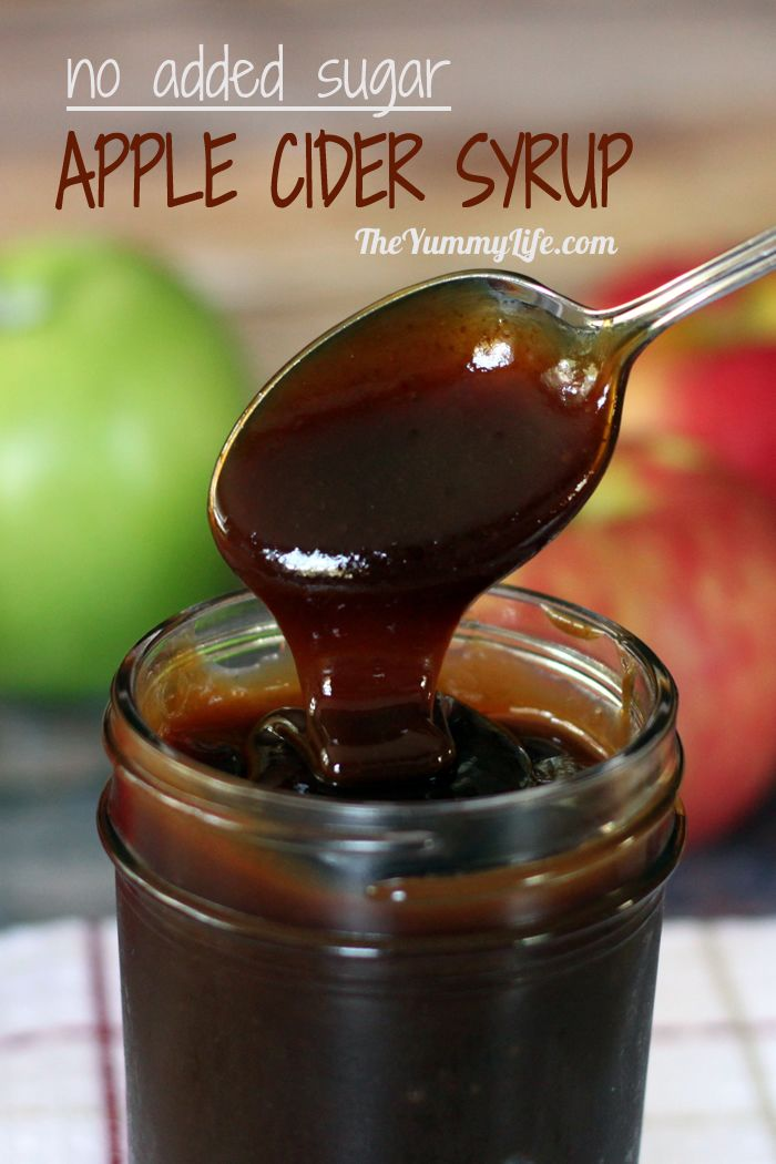 Easy Apple Cider Syrup with no added sugar; stove top or slow cooker. A natural sweetener to stir into hot water, tea, oatmeal or yogurt; drizzle it on toast, pancakes or ice cream.   From TheYummyLife.com