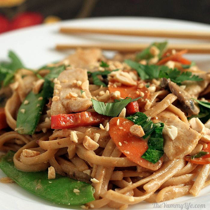 Asian Peanut Noodles With Chicken Amp Vegetables Healthy Whole Grain Pasta And Lots Of