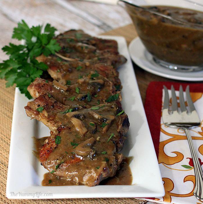 Easy Skillet Pork Chops Smothered in Mushroom Gravy