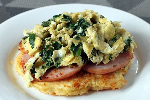 Corn Cake Breakfast Stack with Eggs Florentine & Canadian Bacon
