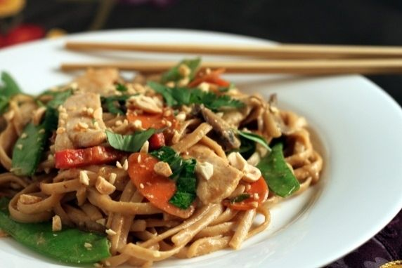 Asian Peanut Noodles With Chicken and Vegetables