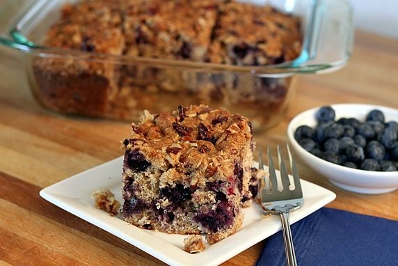 This delicious, multi-grain cake is perfect for breakfast, brunch, or afternoon tea time. It freezes well, so you can eat it now or save it for later. It's loaded with blueberries & lower in fat than most cakes, too.