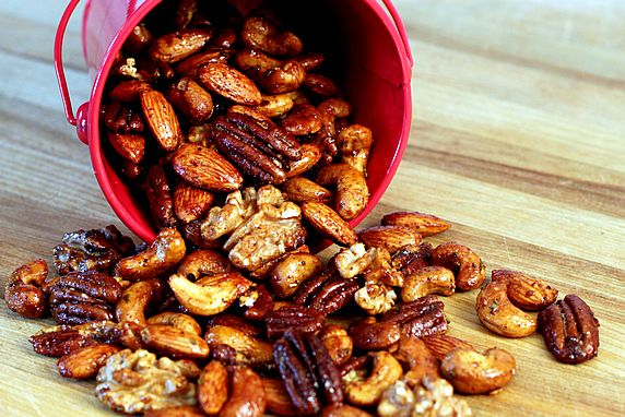 These nuts make a tasty, nutritious snack or gift. They are a blend of spicy, sweet, tart, and savory flavors-- a unique and delicious combination.