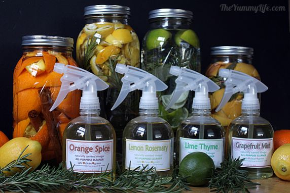 It's easy and economical to make your own safe, non-toxic, green cleaners scented with citrus, herbs, and spices; great for gifts, too!