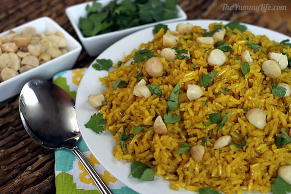 Turmeric and coconut milk add a flavor & nutrition boost to this colorful rice dish. Serve it with Indian or Thai food or grilled chicken or fish. It's gluten free, vegetarian, vegan.