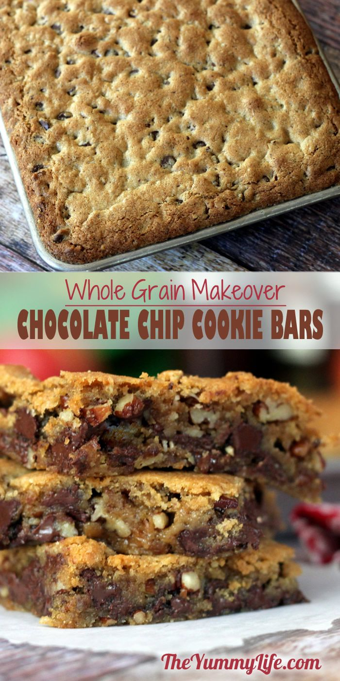 Whole Grain Chocolate Chip Cookie Bars. A healthier recipe makeover using whole wheat flour and flaxseed that tastes like the original Toll House blondie favorite.  from The Yummy Life