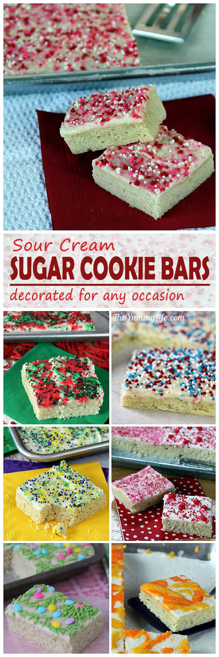 Sour Cream Sugar Cookies Bars are an easy, time saving, short-cut sugar cookie in a yummy bar form. Customize them with different colors of frosting and sprinkles for any holiday, sport or school event, wedding or baby shower. From TheYummyLife.com