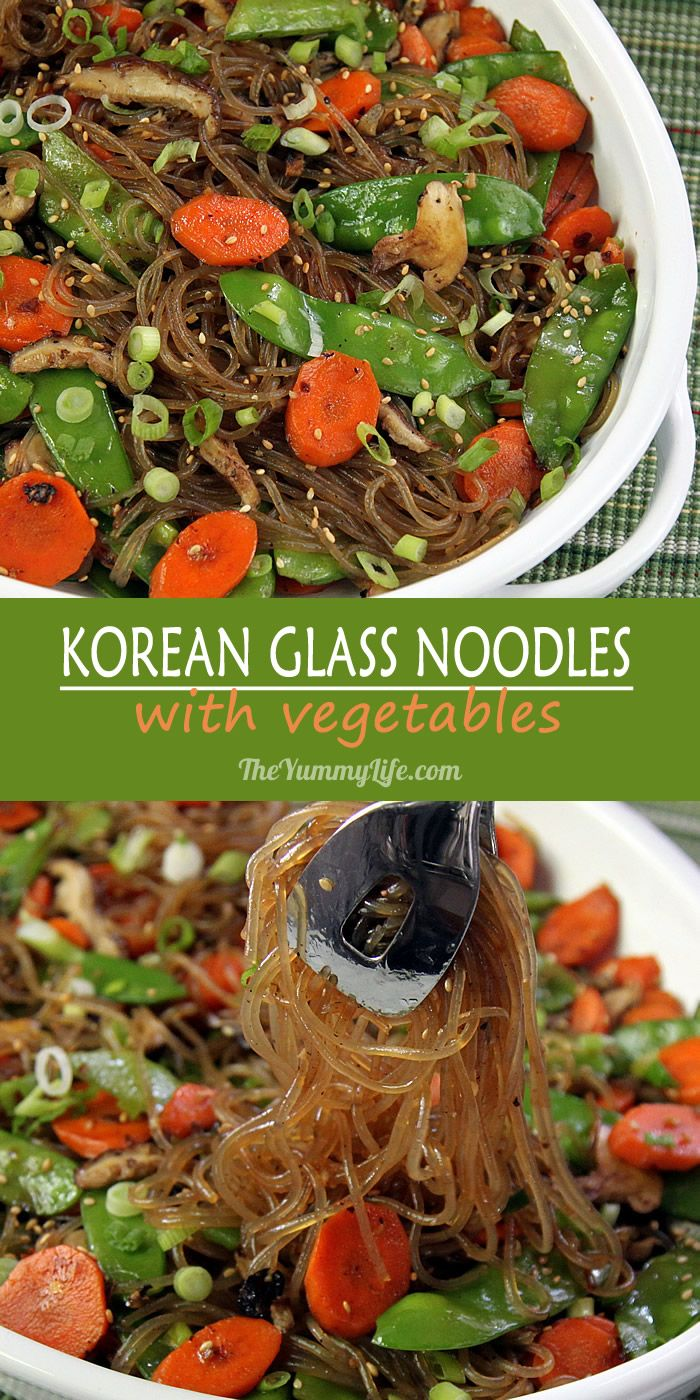 Korean Glass Noodles with Vegetables, a healhty, easy side or main dish to serve warm, cold or room temperature; gluten free and vegetarian. From TheYummyLife.com