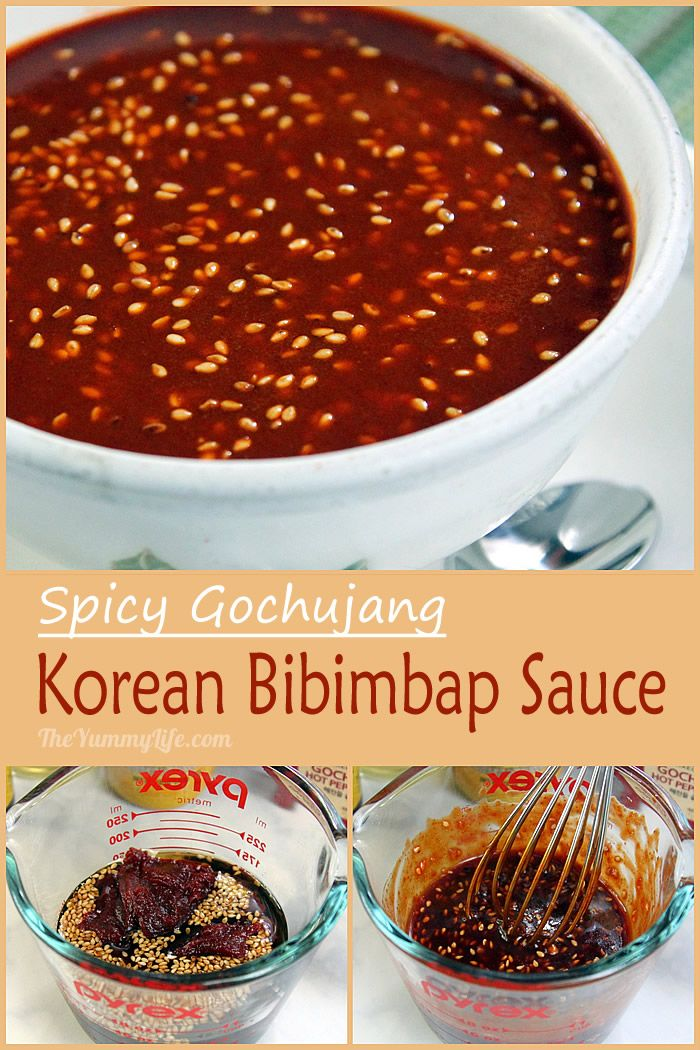 This mildy spicy sauce is a condiment for Bibimbap and other Korean dishes. The primary ingredient is gochujang (or kochujang), a Korean red pepper paste that is a staple in Korean cooking.