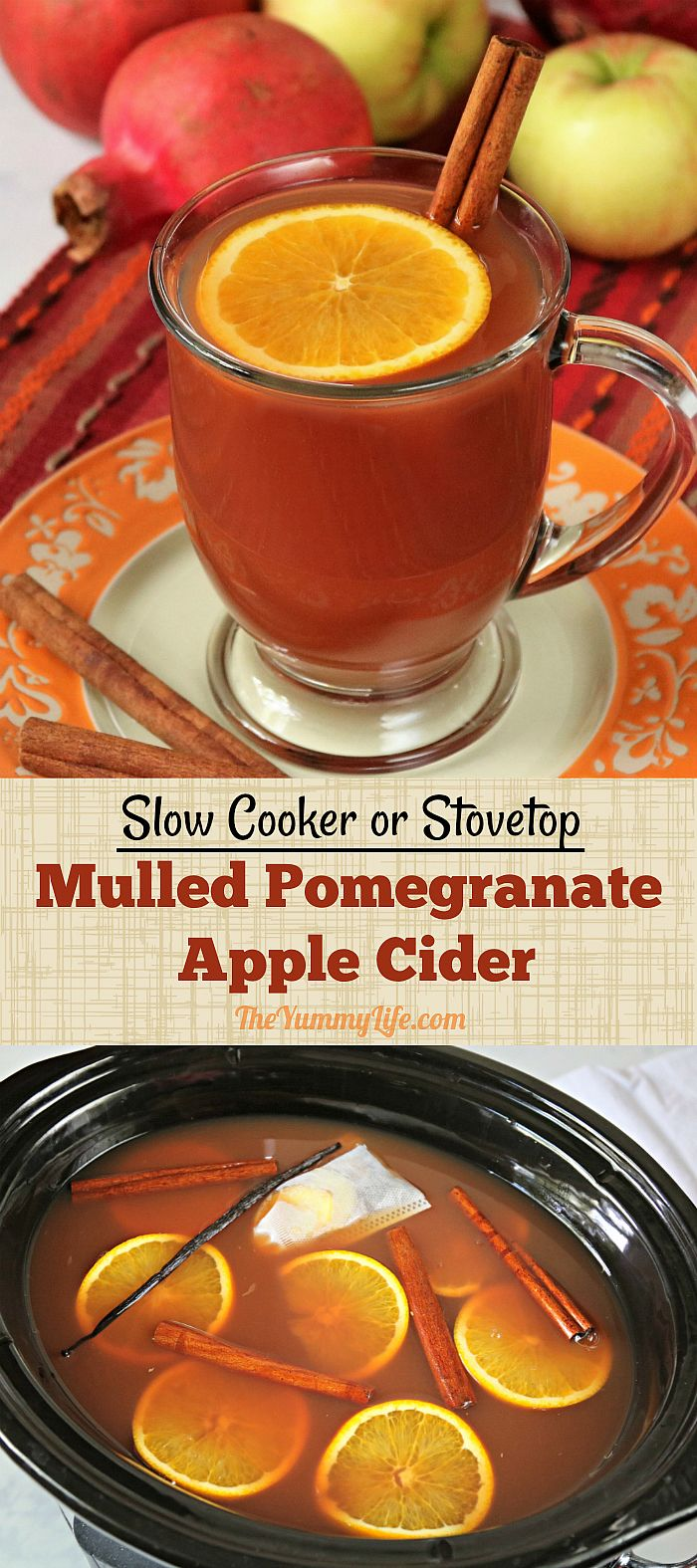 Mulled Pomegranate Apple Cider | no added sugar