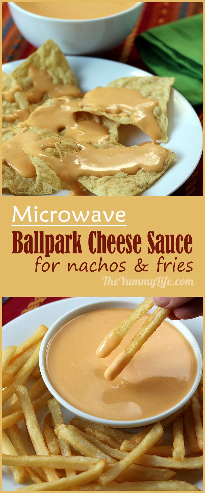 Microwave Ballpark Cheddar Cheese Sauce and Dip