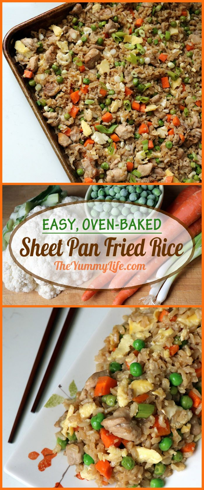 Skip the wok and make this easy, oven-baked sheet pan recipe with traditional Asian fried rice ingredients and flavors. This healthy recipe uses brown rice. From TheYummyLife.com