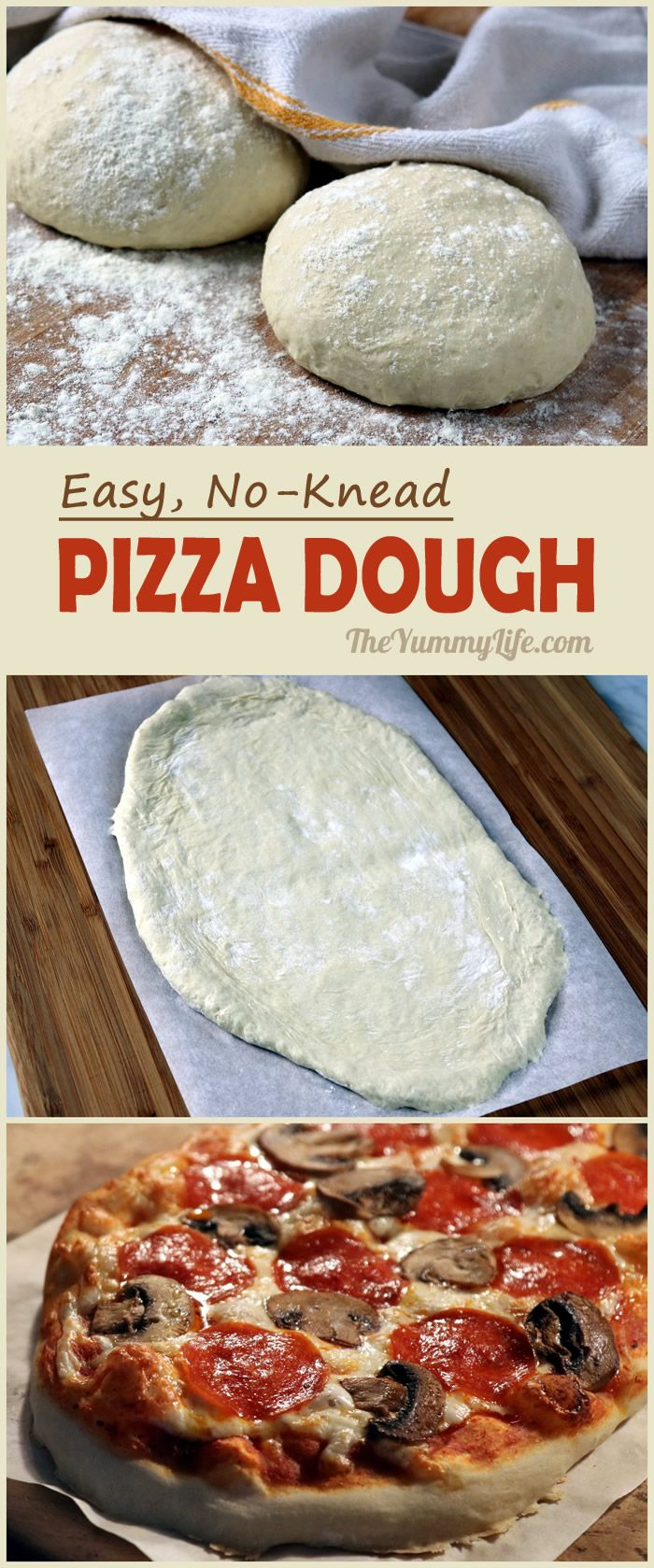 Use this easy, no proofing, no knead dough for making authentic, Neapolitan-style pizza at home. Dough keeps in the fridge for up to 5 days and may be frozen for up to 1 month. From TheYummyLife.com