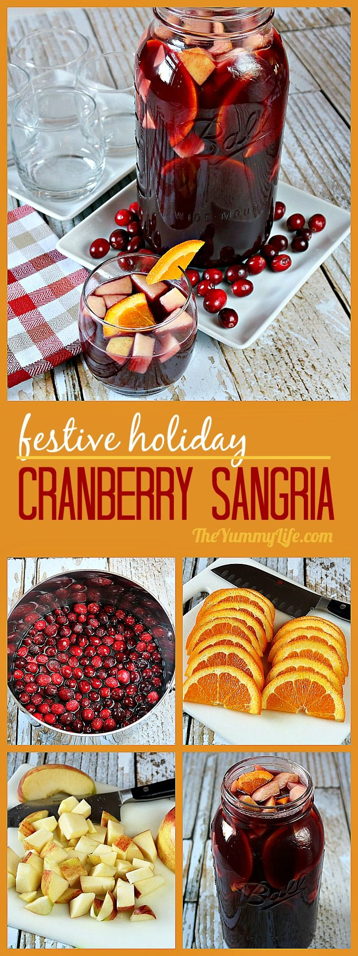 An easy, festive, fruity cocktail-type recipe that is perfect for holiday meals and parties. A delicious, flavorful blend of wine and brandy with cranberries, pomegranates, apples and oranges. Make-ahead convenience, too. #Sangria #Wine #Christmas #Cranberries #Pomegranate #Fruity