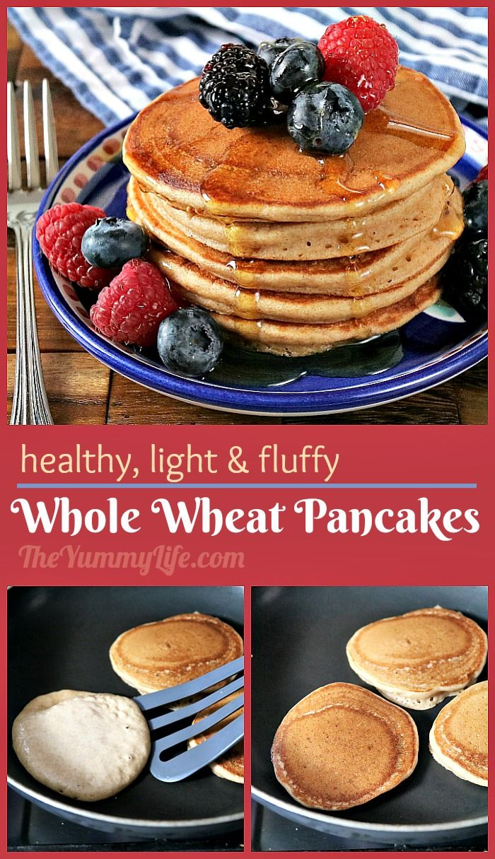 These 100% whole wheat pancakes are surprisingly as soft and fluffy as white flour pancakes with the added nutrition and fiber of whole grains. They can be made ahead and refrigerated or frozen. From TheYummyLife.com. #pancakes #wholewheat #easy #makeahead #freezer #wholegrain #healthy #theyummylife