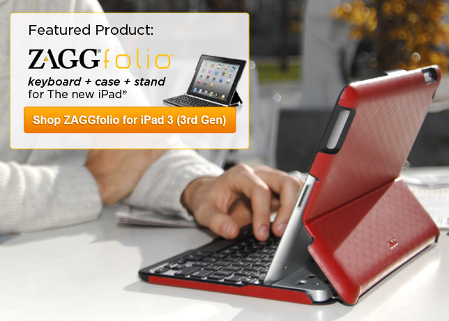 ZAGGfolio - keyboard + case + stand for Apple iPad 3