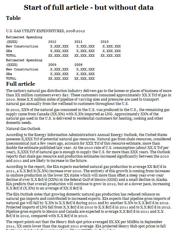 Gas utility expenditures USA