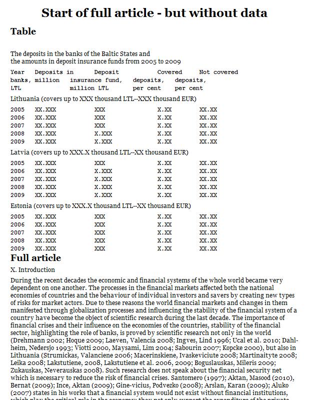 Estonia, Latvia, and Lithuania bank deposits