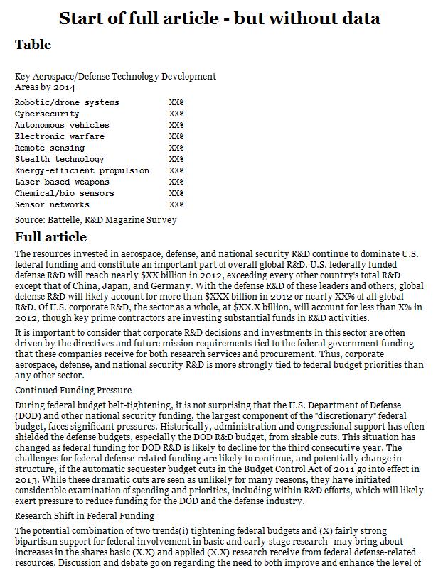 Aerospace/defense technology development areas - growth