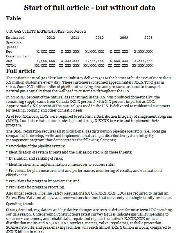 Gas utility construction and maintenance/repair spend