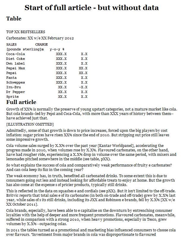 Sales of top UK carbonated soft drink brands
