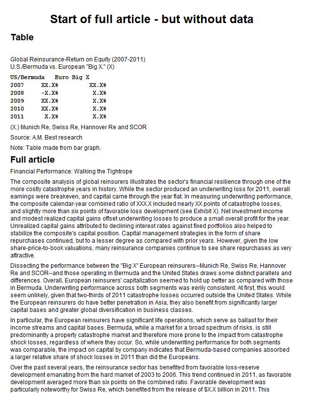 Reinsurance return on equity