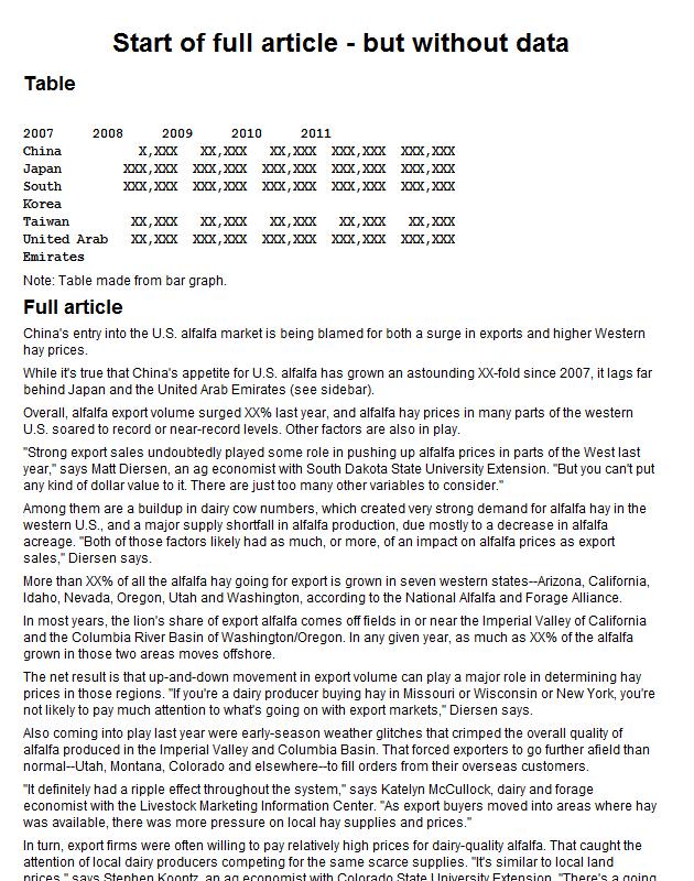 US alfalfa exports