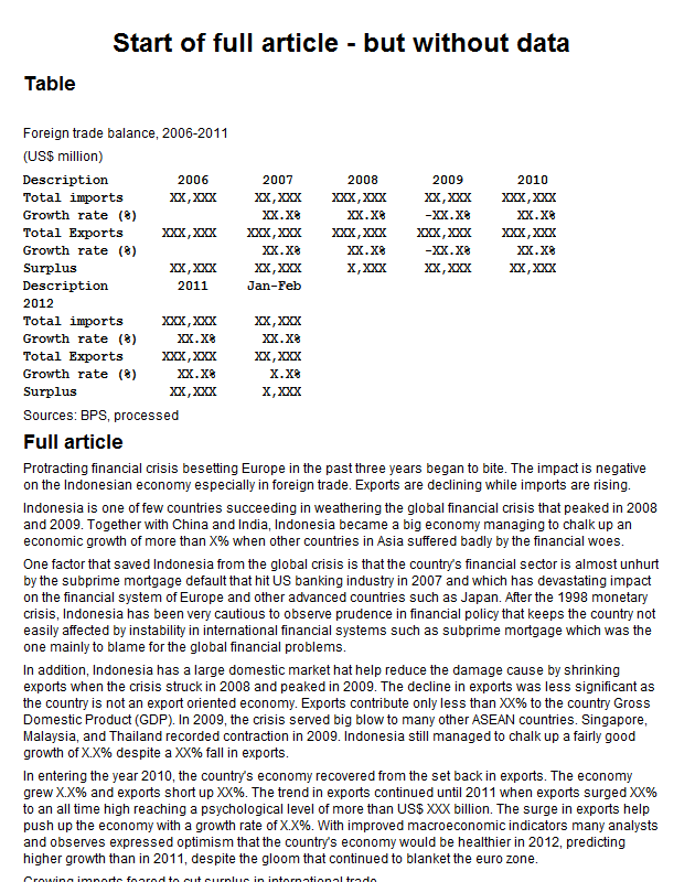 Indonesia foreign trade balance