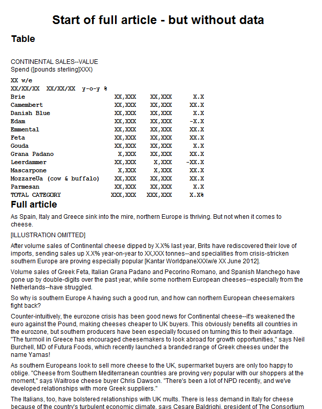 UK retail sales of continental cheeses