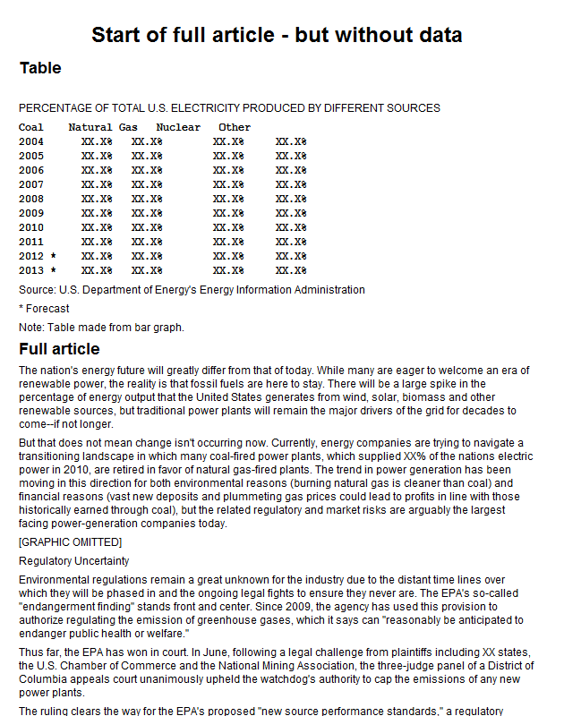 US electric power production by source