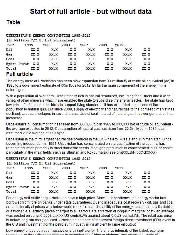 Uzbekistan energy consumption by energy type