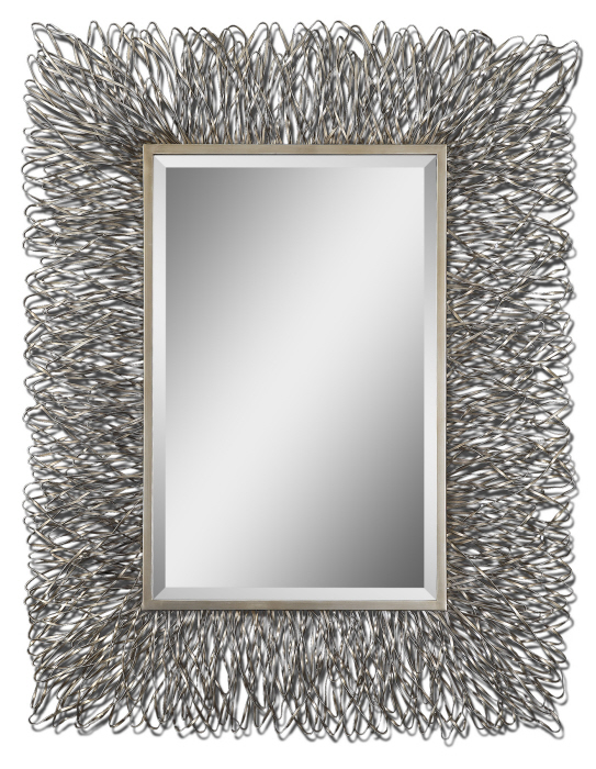 """Large Silver Wall Mirror contemporary silver wire metal wall mirror large 56"""" 