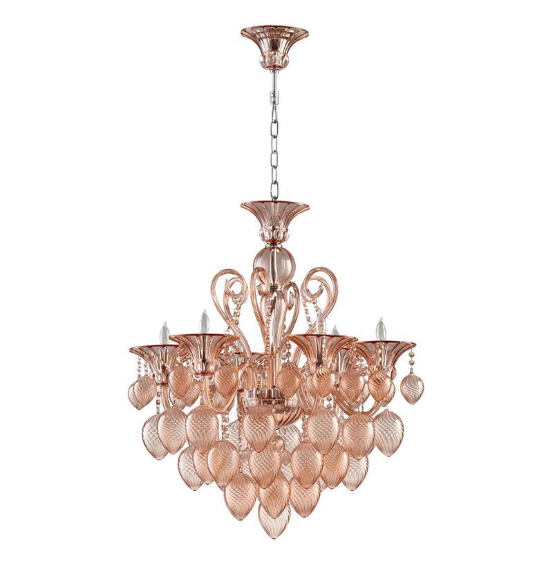 Bella Vetro Blush Pink Murano Style Glass Chandelier – Pink Glass Chandelier