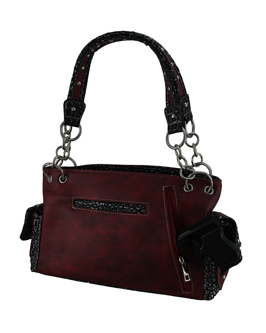 Embroidered Concealed Carry Rhinestone Skull Studded Purse ...